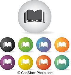 libro, set, icona