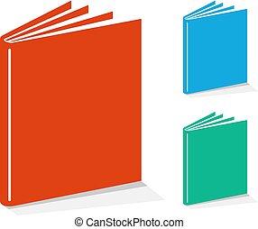 libro, set, icone