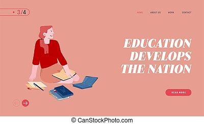libro, sitio web, aparejar, aterrizaje, estudiante,...
