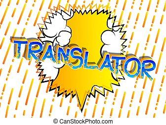 libro, stile, translator, parole, comico, cartone animato