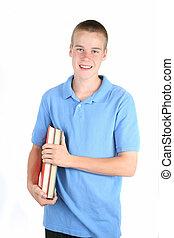 libro, studente, presa a terra, felice