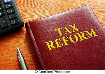 libro, tassa, calcolatore, pen., reform