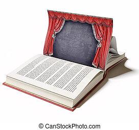 libro, teatro, etapa