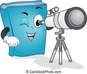 libro, telescopio, mascotte