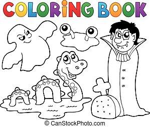 libro, tema, colorido, 4, monstruo