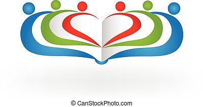 libro, trabajo en equipo, educación, logotipo