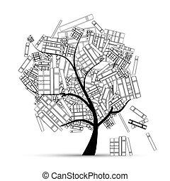 libro, tuo, albero, biblioteca, disegno