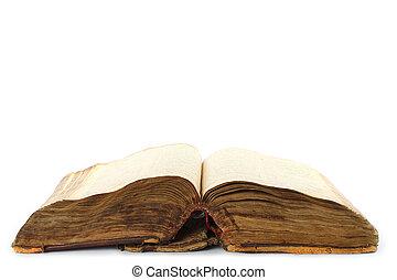 libro, vecchio, fondo, aperto, bianco