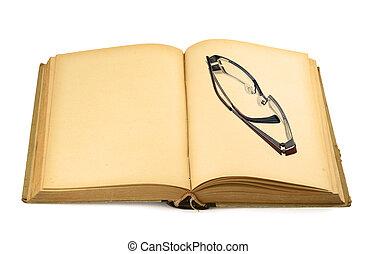 libro, vecchio, occhiali