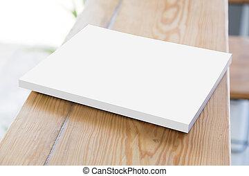 libro, vecchio, tavola legno, aperto