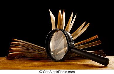 libro, vetro, ingrandendo