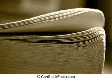 libro, viejo, folias