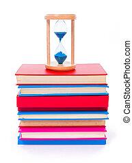libros, apilado, reloj de arena