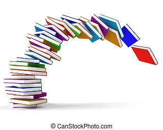 libros, aprendizaje, caer, educación, representar, pila
