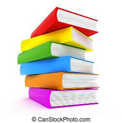 libros, arco irirs, encima, blanco