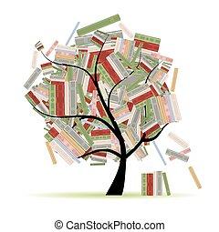 libros, biblioteca, en, ramas de árbol, para, su, diseño