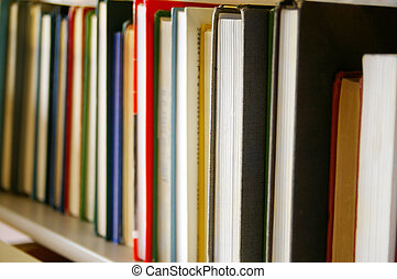 libros, biblioteca, fila