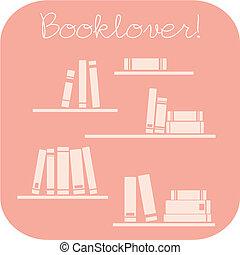 libros, booklovers, señal, vector