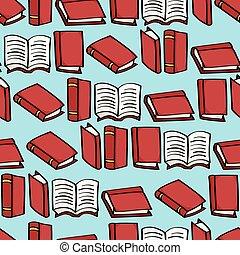 libros, caricatura, plano de fondo, seamless