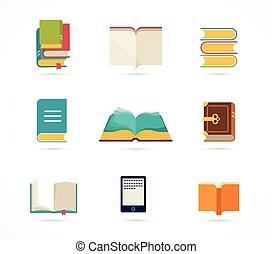 libros, colección, iconos