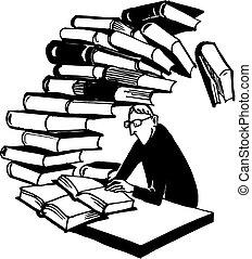 libros, colegial, inmenso, pila