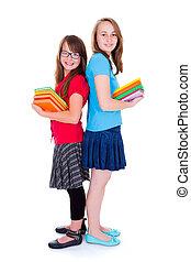 libros, colegialas, tenencia, colorido, feliz