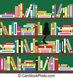 libros, colorido, estante libros