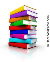 libros, colorido, pila