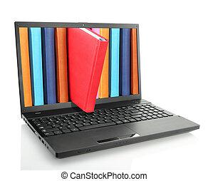 libros, computadora, computador portatil, coloreado