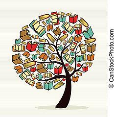 libros, concepto, árbol