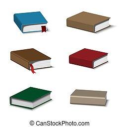 libros, conjunto, colorido