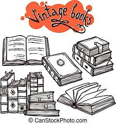 libros, conjunto, negro y blanco