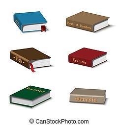libros, conjunto, santo