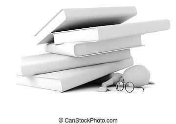 libros, contra, 3d, hombre