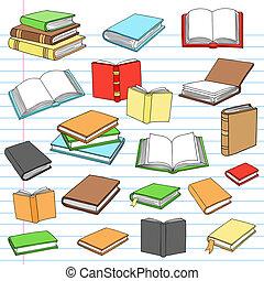 libros, cuaderno, doodles, vector, conjunto