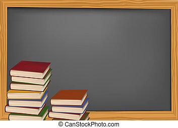 libros de la escuela, con, manzana