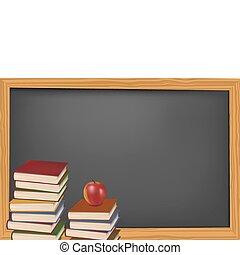 libros de la escuela, en, el, desk., vector.