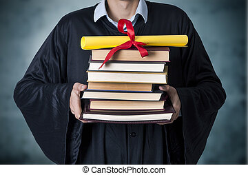 libros, diploma, graduado