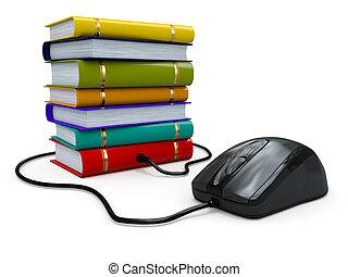 libros, education., mouse., computadora, internet