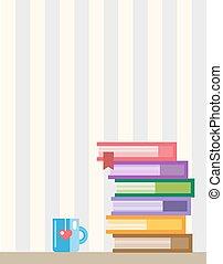 libros, en, desk., espalda, a, school., educación, objetos, universidad, colegio, símbolos, o, conocimiento, book., acción, diseñe elementos