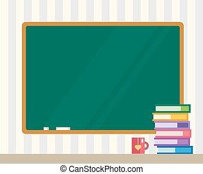 libros, en, desk., limpio, board., espalda, a, school., educación, objetos, o, universidad, y, colegio, symbols., acción, diseñe elementos