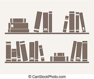 libros, en, el, estante, vector