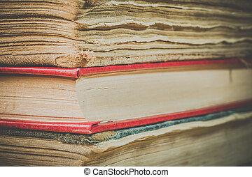 libros, en, el, viejo, cubierta, cicatrizarse