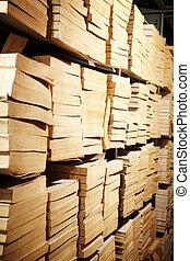 libros, en, estante