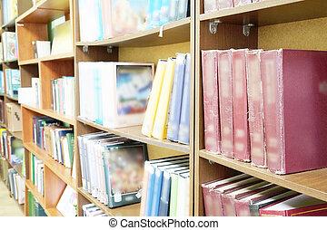 libros, en, un, row.
