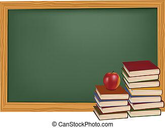libros, escuela, manzana