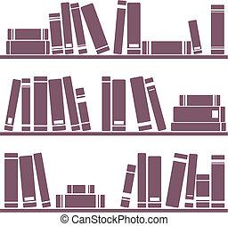 libros, estante, ilustración, vector