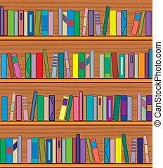 libros, estante libros, de madera, vector