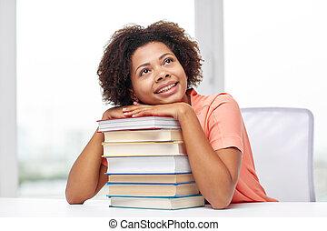 libros, estudiante, africano, hogar, niña, feliz