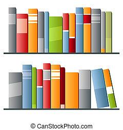 libros, fila, fondo blanco